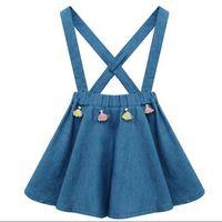 Wholesale Toddler Skirt Suspenders - 2017 New Princess Suspender Skirt Dress Tassel Cotton Baby Sundress Summer Spring Sweet Toddler Clothing Dresses Skirts Denim Blue A6016