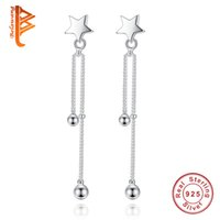 Wholesale Pearl Earrings Sterling Silver Real - BELAWANG Fashion Real 925 Sterling Silver Star Long Earrings With Pearls Push-back Drop Earring for Women Wedding Jewelry Gift Adjustable