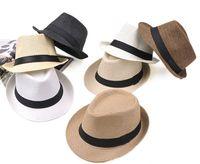 color fedora оптовых-Горячие продажи 7-цветная мода мужская женская соломенная шляпа Мягкая шляпа Fedora Панама джаз шляпа M014