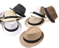fedora satışı toptan satış-Sıcak satış 7-color moda erkek kadın hasır şapka Yumuşak Fedora Panama şapka caz şapka M014