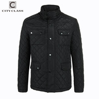 Wholesale Costumes Class - Wholesale- CITY CLASS 2017 Mens Quilted Jacket Multi-Packets Causal Bussiness Style Stand Collar Pilot Jackets and Coats Costume 3850