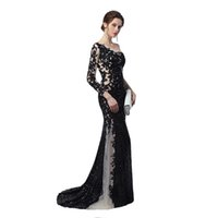 Wholesale Unique Bridesmaid Gowns - Unique Design Sheer Illusion Mermaid Evening Dresses 2018 Nude Black Sequines Applique One Long Sleeves Celebrity Prom Gowns