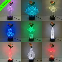 Wholesale Design Candles - Mixed Designs 3D LED Lamp with Decoration Flower DC 5V USB Charging AA Battery Wholesale Dropshipping Free Shipping Retail Box