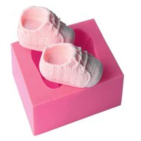 Wholesale Baby Shoes Candles - Baby Shoes Cake Mold Silicone 3D Cute Shoes Shape Fondant Mould DIY Cupcake Decoratio Candle Soap Mold Baking Tools