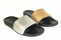 Wholesale thick soled slippers - (Dust Bags+ Box)The new summer men's fashion slippers decorated Medusa PVC thick soles, golden