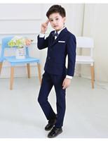 erkek çocuklar için balo kıyafeti toptan satış-5 adet / takım için Bebek Çocuk Boys Blazers Takım Düğün Childern Boys Elbise Elbise Resmi Mavi kafes Balo Communion Parti Suits