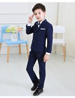 Wholesale babies blazers - 5pcs set Baby Kids Boys Blazers Suit for Wedding Childern Boys Dress Clothes Formal Blue lattice Prom Communion Party Suits