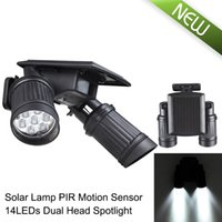 Wholesale super Bright LED Dual Head Waterproof PIR Motion Sensor Solar Spotlight led solar lights Garden Security Lamp Outdoor Street Light