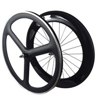 Wholesale Tri Bike Carbon Wheels - 700C fixed gear carbon wheelset front tri spoke rear 88mm depth wheels track carbon wheelset fixie single speed bike wheels