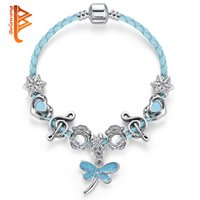 BELAWANG Silver Plated Genuine Leather Dragonfly Pendant Charm BraceletBangle Com Coração Musical Beads Jewelry Making for Women Wholesale