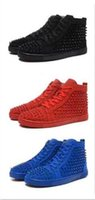 Wholesale Spike Studded - High Top Studded Spikes Casual Flats Red Bottom Luxury Shoes 2017 New For Men and Women Party Designer Sneakers Lovers Genuine Leather