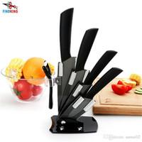 "Wholesale High Quality Kitchen Knife Sets - D032 High quality brand black blade kicthen ceramic knife set 3"" 4"" 5"" 6"" inch + peeler +Acrylic Holder stand Chef Kitchen knife"