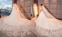 Wholesale Dubai Accessories - Full Applique Cathedral Veils Long Wedding Veils Beads 3 Meters Two Layers Luxury Dubai Arabic Bridal Veil Bridal Accessories