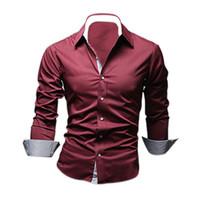 modèles de vêtements élégants achat en gros de-En gros-TFGS Style Design Hommes Chemises de haute qualité Casual Slim Fit Stylish Dress Chemises 5 Couleurs Taille: M ~ 3XL
