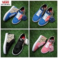Wholesale Pink Leopard Shoes - 2017 VANS X Suprem Leopard Old Skool Running Shoes Women Men Classic Black Blue Pink Designer High Top Casual Canvas Runnig Sneakers 35-44