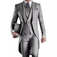 tailcoat personalizado para casamento venda por atacado-2019 Custom Made Noivo Smoking Groomsmen Cinza Melhor homem Ternos De Casamento dos homens (Jacket + Pants + Vest) casamento Tailcoat terno EW7102