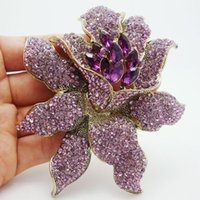 Wholesale Rhinestone Brooches Purple - Fashion Jewelry Brooches Vintage Style Purple Rhinestones Crystal Orchid Flower Brooch Pin Fashion Woman Flower Brooch Free Shipping