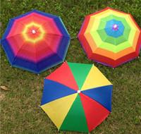 Wholesale colors umbrellas - New Portable Fishing Camping beach Umbrella Hat Multicolor Cap Sun Rain Umbrella Mix colors Free Shiping