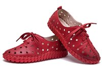 Wholesale Hollow Lace Shoes - Spring and summer new genuine leather shoes women hollow female Lace genuine leather flats women shoes casual shoes women