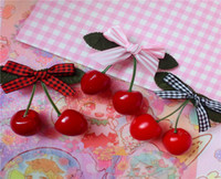 Wholesale Japanese Bowknot - NEW Japanese cherry hairpin lovely bowknot simulation grid Hairpin Lady Bowknot Cherry Japan's Harajuku Lovely Cherry 15pcs shipping free