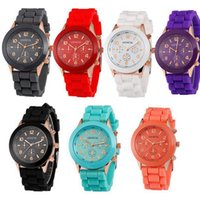 Wholesale Geneva Candy Watches - 500pcs Luxury mens watches women geneva watch rubber candy jelly fashion unisex silicone quartz wrist watches for women wristwatch