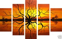Wholesale Handicraft Wall - Free Shipping ,Lots Wholesale ,wu726#,100% Handicrafts Modern Abstract 5 Panel Combination Huge Wall Decor Art Oil Painting On Canvas:Tree