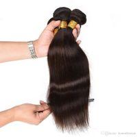 en iyi saç paketleri toptan satış-Brezilyalı Saç Örgü Demetleri En Iyi 8A 65 g / adet 4 adet / grup Işlenmemiş Brazillian Perulu Hint Malezya Düz Saç Uzantıları Doğal Siyah