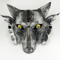 Wholesale Mask Horror Wolf - Wolf Head Masks Masquerade Masks for Men Game Props Fall Face Halloween Horror Masks Gold Silver