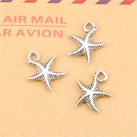 Wholesale Jewelry Making Starfish Charms - 128pcs Tibetan Silver Plated double sided starfish Charms Pendants for Jewelry Making DIY Handmade Craft 16*14mm