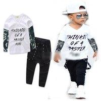 siyah uzun kollu bluz toptan satış-INS Çocuk Boys dövme yeşil tül uzun kollu harfler + Siyah pantolon WILDCHIL alfabe beyaz bluz + Yeşil pantolon