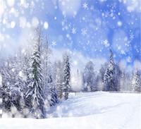 backdrops bleu achat en gros de-10x10ft En Plein Air Panoramique Neige Blanche Toiles De Photographie Photographie Ciel Bleu Flocons De Neige Arbres Vacances D'hiver Enfants Photo Fond De Noël