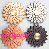 Wholesale Single Boxed Rose - Lotus flower Metal fidget Spinners Decompression Anxiety Toys stress reduce hand spinner toy Gold rose-gold Gray black with retail box