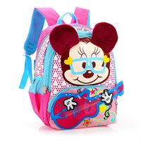 Wholesale Backpacks Guitars - Wholesale- Teenager Boys Girls Minnie Mouse School Bags Children Cartoon Brand Lighten Backpacks Kids Lovely Guitar Design Shoulder Bag