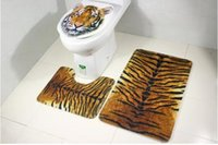 Wholesale Horse Machine - Free shipping 2017 hot tiger leopard horse toilet mat three-piece anti-skid suction bathroom mat 3 sets