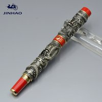 Wholesale Dragon Roller Ball Pens - Brand JINHAO expensive Gray double dragon embossment metal roller ball pen Luxury school office supplies writing smooth roller pen as gifts