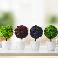 yapay yeşil bitki topları toptan satış-Yeni Tasarım Yapay Bitkiler Topu Bonsai Sahte Ağaç Dekoratif Yeşil Bitkiler Ev Dekorasyon Bahçe Dekor Için 4 Renkler 1 Takım (Bitkiler + Vazo)