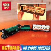 Wholesale Steam Models - LEPIN 21005 1109Pcs Technic series the Emerald Night model building blocks set Classic compatible Steam trains Toys 10194