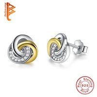 Wholesale Sterling Silver Knot - BELAWANG Fashion Real 925 Sterling Silver Jewelry Rose Gold&Silver Small Stud Earrings for Woman Double Colors Knot Earrings Girl Earring