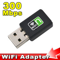 Wholesale internet adapters - Wholesale- Mini 300Mbps Wireless Network Card USB Router wifi Adapter WI-FI Sender Internet for PC Laptop Wifi Signal Receiver