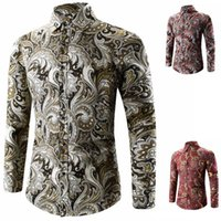 Wholesale Wholesale Dong - Han edition men's new 2016 qiu dong outfit button printing men long sleeve shirt long sleeve shirt