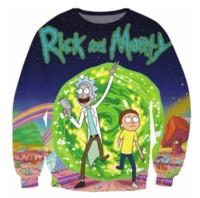 Wholesale Animal Crewneck Sweatshirt - Womens Mens 3D Fashion Clothing Rick and Morty Crewneck Sweatshirt Women Men Space Galagxy Harajuku Jumper Tops