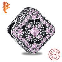Wholesale Bead Treasures - BELAWANG 925 Sterling Silver Pink Zircon Fairytale Treasure Square Loose Beads Fit Pandora Charm Bracelet DIY Jewelry for Valentines Day
