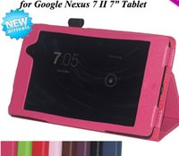 "Wholesale Nexus 2nd Case - Wholesale-For Google Nexus 7 II tablet High quality Lichii PU leather stand case, for Nexus 7 2nd 7"" tablet pc cover"