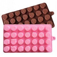 Wholesale Silicone Molds For Chocolates - 28 Grid Funny Emoji Expression Mold Cute Silicone Cake Molds For Cake Chocolates Candy Ice Baking Tools