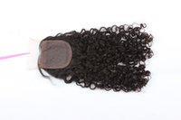 Wholesale Synthetic Silk Top Closure - 8A Brazilian Deep Wave Curly Human Hair Silk Base Closure 4x4 Silk Top Lace Closures With Baby Hair Bleached Knots Free Parting Style