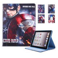 Wholesale Marvel Comic Cover - Captain America Marvel Comics Cartoon PU Tablet case For Ipad 6 5 air 2 1 Mini 4 Auto sleep wake OPP BAG
