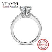 Wholesale Wedding Rings Made Silver - YHAMNI 100% 925 Sterling Silver Ring For Women 1 Carat Sona CZ Diamond Wedding Party Ring Original Jewelry Making JZR051