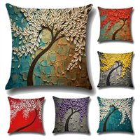 Wholesale Decorative Cover Pillows - 20Colors 45*45cm 3D Painting Trees Flowers Linen Printed Throw Pillow Case Cushion Cover For Office Chair Decorative Pillowcase Fashion Sets