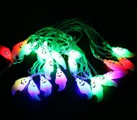 Wholesale Little Waterproof Led Lights - 4M 20PCS Little Ghost Led String Lights AC110V 220V Fairy String Light For Halloween Christmas Party Outdoor Decorations
