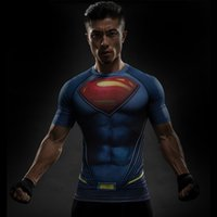 Wholesale Men S Batman Costume - Batman VS superman polyester T Shirt Tee 3D Printed T-shirts Men Short Raglan sleeve Fitness Cosplay Costume Slim Fit Compression Top Male